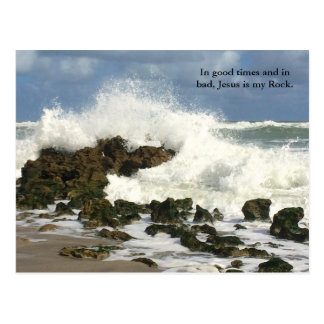 Christian Jesus is my Rock postcard, Religious Postcard