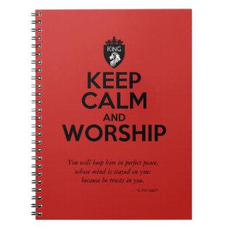 Christian KEEP CALM AND WORSHIP Devotional Notebooks