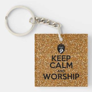 Christian Keep Calm and Worship Gold Glitter Keychain