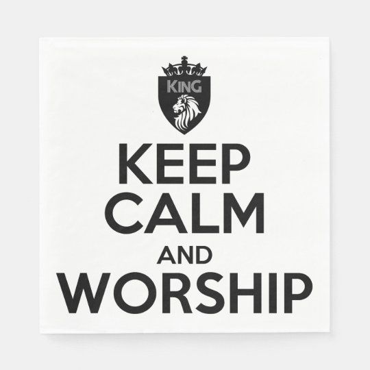 Christian KEEP CALM AND WORSHIP Napkins Paper Napkin