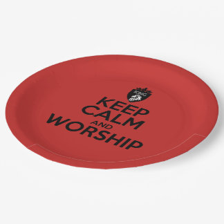 Christian KEEP CALM AND WORSHIP Paper Plate