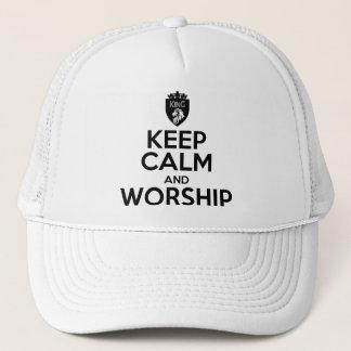 Christian KEEP CALM AND WORSHIP Trucker Hat