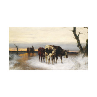 Christian Mali Driving the Herd Winter Landscape Canvas Print
