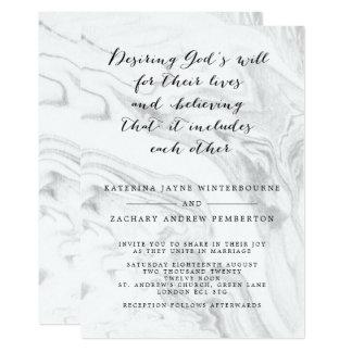 Christian Marble Elegant Script Wedding Invitation