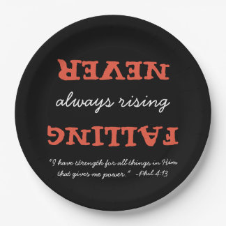 Christian Never Falling Always Rising with Verse 9 Inch Paper Plate