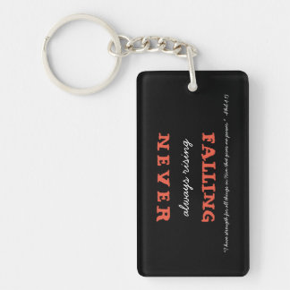 Christian Never Falling Always Rising with Verse Keychain