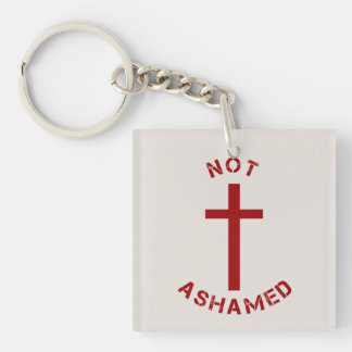 Christian Not Ashamed Red Cross and Text Design Double-Sided Square Acrylic Keychain