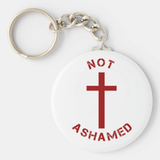 Christian Not Ashamed Red Cross Text Design Basic Round Button Keychain