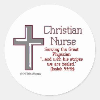 Christian Nurse Cross2 Classic Round Sticker