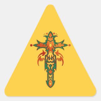 Christian Ornate Cross 36 Triangle Sticker