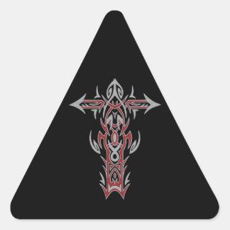 Christian Ornate Cross 42 Triangle Sticker