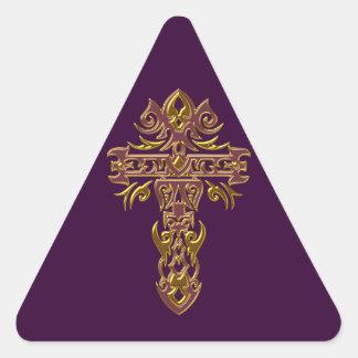 Christian Ornate Cross 48 Triangle Sticker