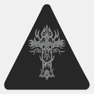 Christian Ornate Cross 55 Triangle Stickers