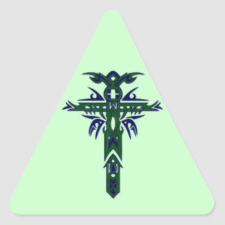 Christian Ornate Cross 61 Triangle Sticker