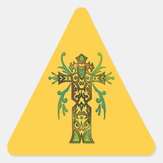 Christian Ornate Cross 64 Triangle Sticker