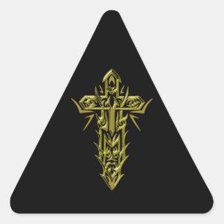 Christian Ornate Cross 66 Triangle Sticker