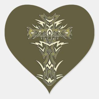 Christian Ornate Cross Heart Sticker