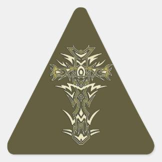 Christian Ornate Cross Triangle Sticker