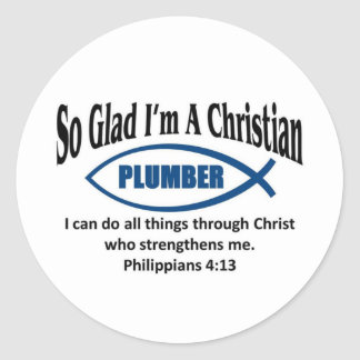 Christian Plumber Round Sticker