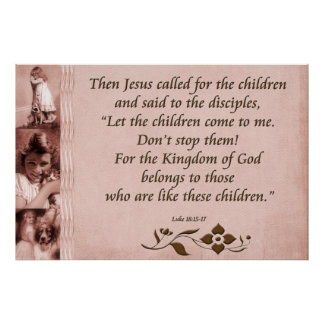Christian Poster or Print Scripture Luke 18:15-17