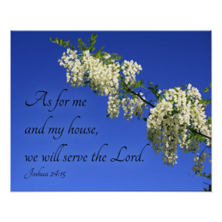 "Christian poster ""We will serve the Lord"" flowers"