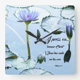 Christian Press On Waterlily Flowers Wall Clock