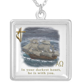 christian products silver plated necklace