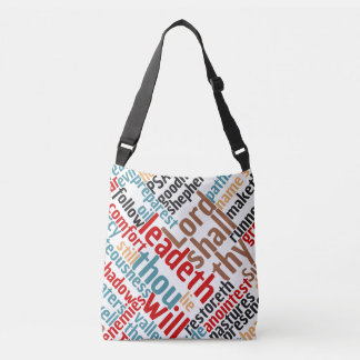 Christian PSALM 23 Colorful Word Art Crossbody Bag