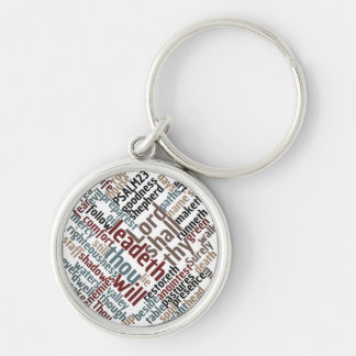 Christian PSALM 23 Colorful Word Art Keychain