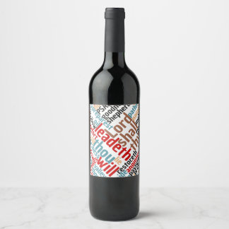 Christian PSALM 23 Colorful Word Art Wine Label