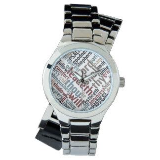 Christian PSALM 23 Colorful Word Art Wristwatch