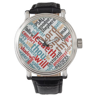 Christian PSALM 23 Colorful Word Art Wristwatches