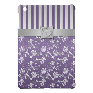 Christian Purple Silver Floral iPad Mini Case