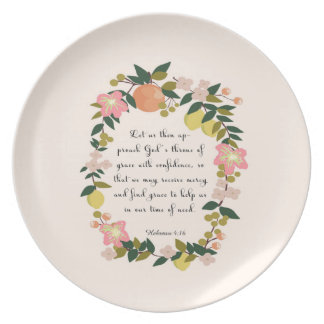 Christian Quote Art - Hebrew 4:16 Party Plate