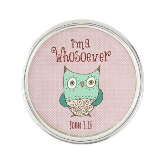 Christian Quote: I'm a Whosoever with Owl Lapel Pin
