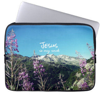Christian Quote: Jesus is my Rock Laptop Sleeve