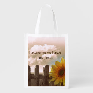 Christian Quote: Learning to Lean on Jesus Grocery Bags