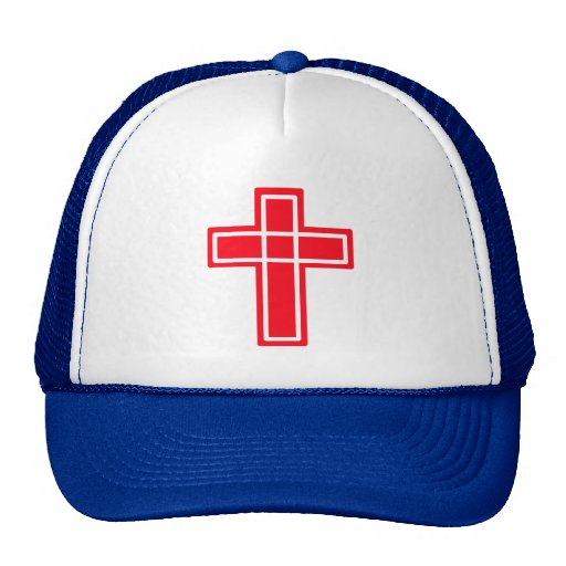 Christian red and white cross cute hat