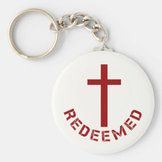 Christian Redeemed Red Cross and Text Design Basic Round Button Keychain