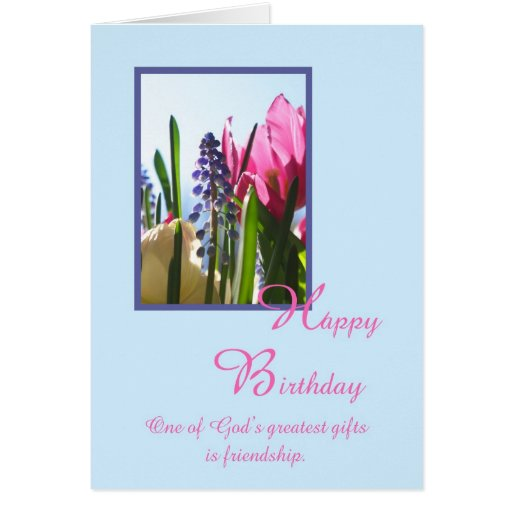 Christian Religious Birthday Card -- Spring Flower