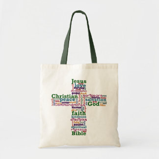 Christian Religious Word Art Cross Tote Bag