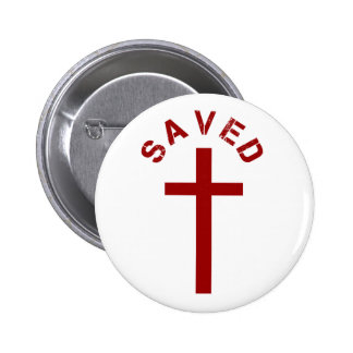 Christian Saved Red Cross and Text 2 Inch Round Button