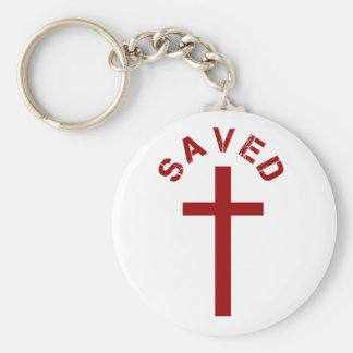 Christian Saved Red Cross and Text Design Basic Round Button Keychain