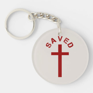 Christian Saved Red Cross and Text Design Double-Sided Round Acrylic Keychain