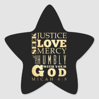 Christian Scriptural Bible Verse - Micah 6:8 Star Sticker
