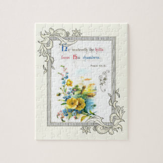 Christian Scripture And Pretty Flowers Jigsaw Puzzle