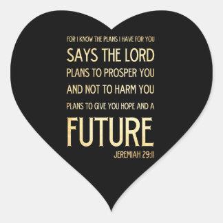 Christian Scripture Bible Verse Art Jeremiah 29:11 Heart Sticker