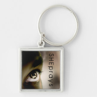 Christian SHE PRAYS Silver-Colored Square Keychain
