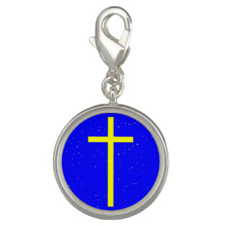 Christian Silver Plated Round Charm