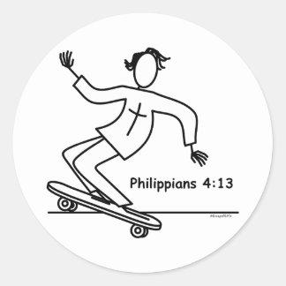 Christian Skateboard Round Sticker